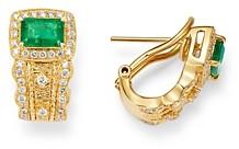 Bloomingdale's Emerald & Diamond Halo Earrings in 14K Yellow Gold - 100% Exclusive