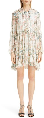 Chloé Floral Print Long Sleeve Metallic Fil Coupe Minidress