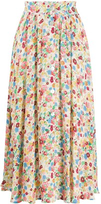 Andamane Floral High-Waisted Skirt