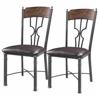 Breakwater Bay Aquino Upholstered Metal Slat Back Side Chair in Brown