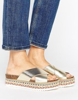 Carvela Kake Gold Leather Espadrille Flatform Slide Sandals