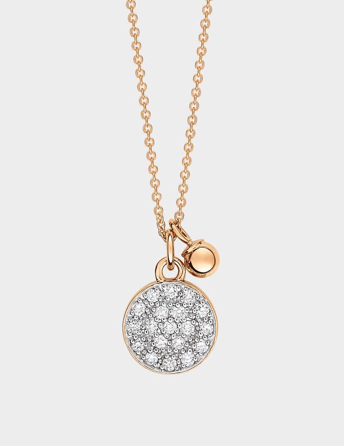 ginette_ny Diamond Mini Ever Disc 18-karat rose gold necklace