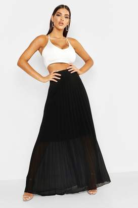 boohoo Pleated Chiffon Maxi Skirt