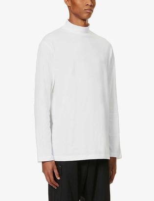 Y-3 Brand-appliqué funnel-neck stretch-cotton T-shirt