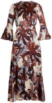 Erdem Florence fluted-cuff silk-satin dress