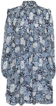 Ganni Elm Pintucked Floral-print Georgette Mini Dress