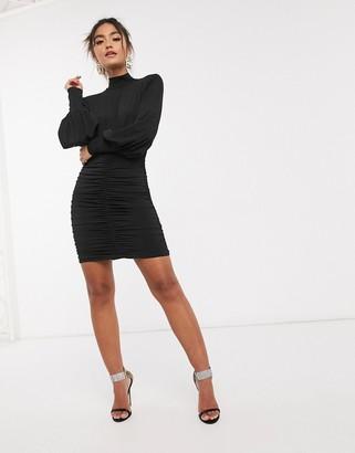 John Zack highneck ruched bodycon mini dress in black