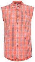 Topman Sleeveless Orange and Red Check Shirt