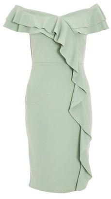 Dorothy Perkins Womens Quiz Sage Frill Bardot Dress
