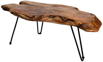 Stylecraft Home Collection Badang Carving Coffee Table, Natural Lacquer