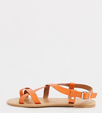 Park Lane wide fit strappy flat sandals-Orange