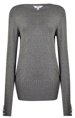 Dorothy Perkins Womens Dp Tall Grey Pearl Crew Neck Jumper, Grey