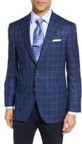 David Donahue Men's Connor Classic Fit Windowpane Wool Sport Coat