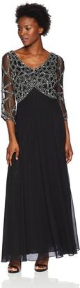 J Kara Women's Petite 3/4 Sleeve Geo Beaded Gown