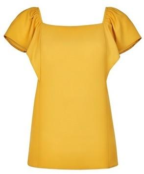 Dorothy Perkins Womens Yellow On The Shoulder Bardot Top