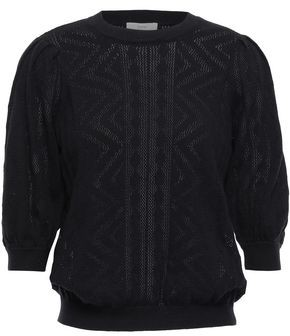Joie Chamora Pointelle-knit Cotton And Cashmere-blend Sweater