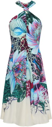 Roberto Cavalli Floral-print Silk Crepe De Chine Dress