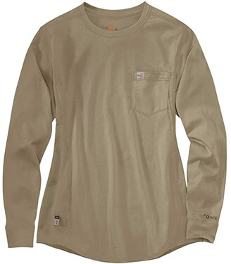 Carhartt Flame-Resistant Force(r) Cotton Long Sleeve Crew (Khaki) Women's Clothing