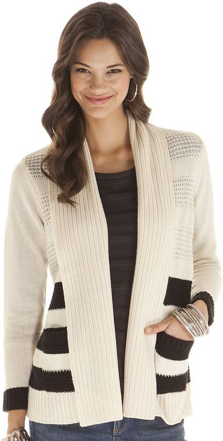 Daisy fuentes ® striped textured open-front cardigan - women's
