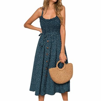 Sfit Women Sleeveless Polka Dot Printed Spaghetti Strap Midi Dress Boho Off Shoulder Beach Dress Ladies Stretch Summer Holiday Sundress Green