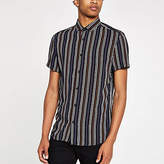 Mens Black stripe and aztec print shirt