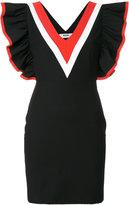MSGM fitted V-neck frill dress - women - Cotton/Polyamide/Polyester/Spandex/Elastane - 38