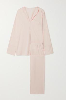 Skin - Ondrea Satin-trimmed Pima Cotton-jersey Pajama Set - Pastel pink