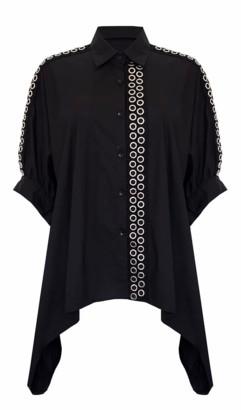 Jovonna London Lanie Shirt Eyelets Oversized Black - Small