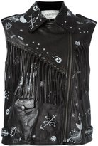 Valentino Astro Couture print biker gilet - women - Cotton/Sheep Skin/Shearling - 40