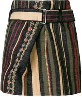 Saint Laurent fold detail striped skirt