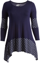 Glam Navy & White Dot-Accent Sidetail Tunic - Plus