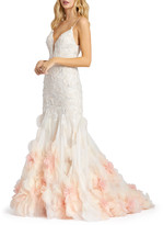 Mac Duggal 6-Week Shipping Lead Time Lace Mermaid Gown with Floral Organza Applique