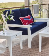 L.L. Bean All-Weather Patio Settee with Navy Cushion