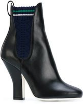 Fendi heeled ankle boots - women - Cotton/Calf Leather/Leather - 36