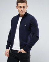 Fred Perry Texture Knit Cardigan Stripe Zipthru In Navy