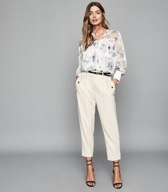 Reiss Anneka - Floral Printed Smock Blouse in Blue/white