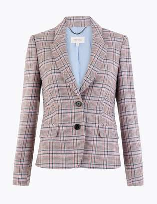 Marks and Spencer Cotton Blend Tweed Herringbone Blazer