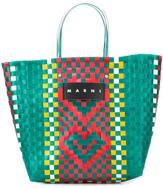 Marni Market Woven Logo Tote Bag