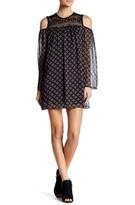 BE BOP Lace Yoke Cold Shoulder Printed Dress