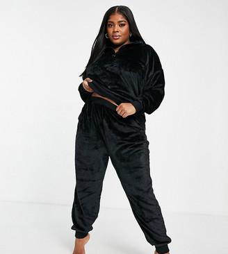 ASOS DESIGN Curve lounge super soft sweatshirt and trackie set in black