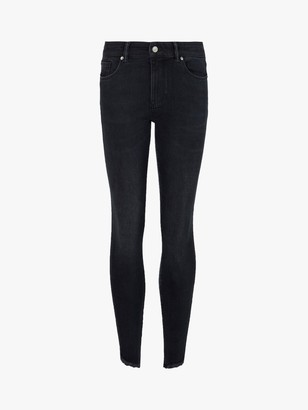 AllSaints Miller Frayed Hem Mid-Rise Skinny Jeans, Blue/Black