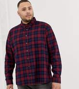 Burton Menswear Big & Tall shirt in burgundy ombre check