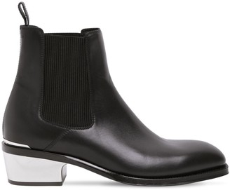 Alexander McQueen Leather Boots W/ Metal Heel