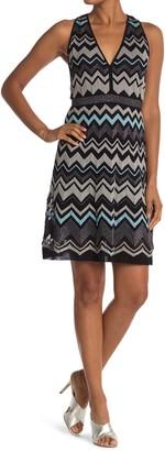 M Missoni Chevron Print V-Neck Racerback Dress