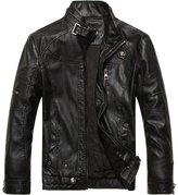 LOVEBEAUTY Men's Casual Faux Leather Outwear Moto Bomber Jacket Short M