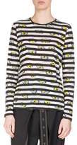 Proenza Schouler Striped Ikat Pansy Long-Sleeve T-Shirt, Black/White/Multi