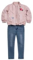 Hudson Infant Girl's Embroidered Bomber Jacket, Tee & Jeggings Set