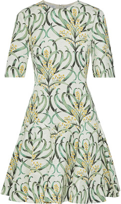 Oscar de la Renta Flared Printed Jacquard Mini Dress
