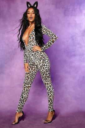 boohoo Halloween Leopard Plunge Long Sleeve Jumpsuit