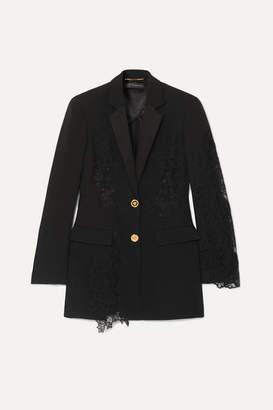 Versace Lace-paneled Crepe Blazer - Black